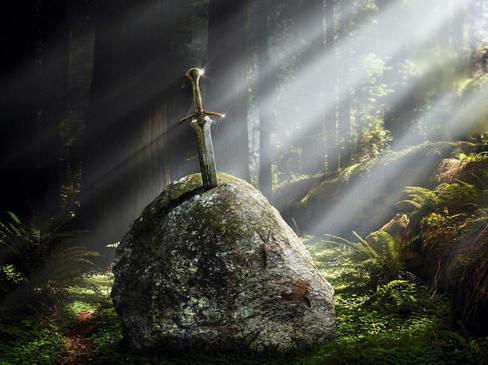 Excalibur coincee dans une pierre